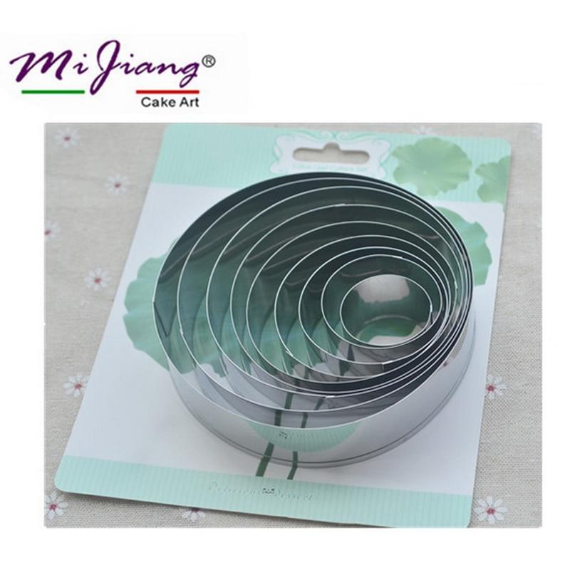 9ks / sada Lotus Leaf Petal Metal Cookie Cutters Set Nerezová ocel dort Fondant Mold Vánoční dort zdobení nástroje 3-11cm A344