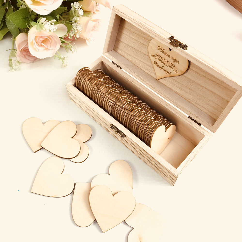 Personalized Wedding Guest Book With Hearts,Custom Name And Date Wooden Keepsake Box,rustic Engrave Wedding Guest Book