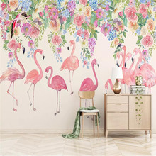Nordic wallpaper simple hand-painted flamingo flower background wall professional custom mural