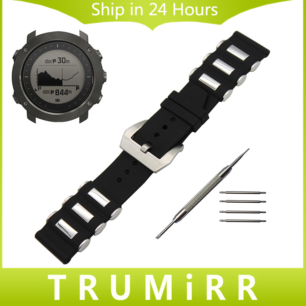 Silicone Rubber Watchband 24mm for Suunto TRAVERSE Watch Band Stainless Steel Tang Buckle Strap Wrist Belt Bracelet Black + Tool 24mm italian oily leather watchband tool adapters for suunto core watch band steel buckle strap wrist bracelet black brown
