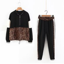 Set female 2019 Vintage Leopard Print Patchwork Hooded Sweatshirts And Side Stripe Jogging Pants suits Two piece sets
