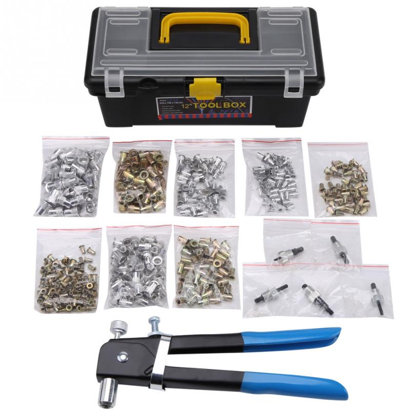 464PCS/Lot M3 M4 M5 M6 M8 Blind Rivet Nut Hand Insert Rivet Gun Riveter Tool Set Box Flat Head Rivet Nuts