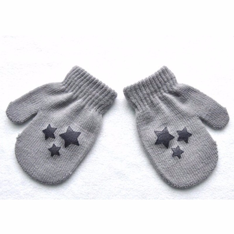 Winter Autumn Warm Gloves Kid Boy Girl Warmer Stars Printed Wants Whole Covered Finger Gloves 6 Styles