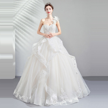Wedding Dress White Crystal One Shoulder 2019 Tube Top Sleeveless Wedding Dress Plus Size Sexy Lace Backless Robe De Mariee E616 black one shoulder backless lace up details sweater dress