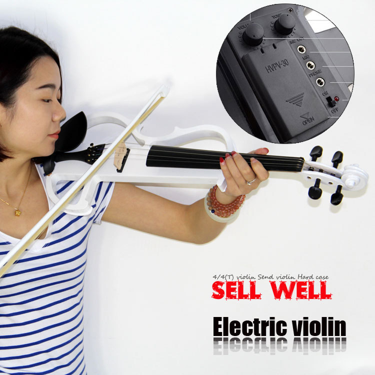 High quality, 4/4  violin Send violin Hard case, Handmade white electric violin with power lines transparent 4 4 violin led light send violin hard case electric violin with colorful power lines and violin parts for lover