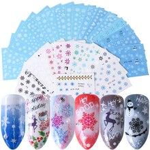 30 pçs/set Etiqueta Da Arte Do Prego Manicure Transferência De Água Do Decalque Do Boneco de neve do Inverno Do Floco De Neve Cervos Branco Azul Nail Art Decoração Folha TR862