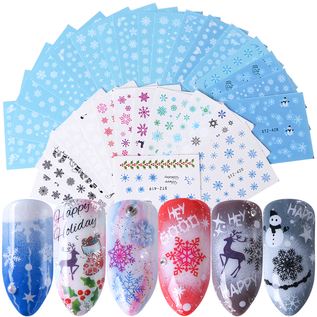 30PCS/Set Snowflake Nail Art Sticker Winter Manicure Water Transfer Decal Snowman Deer White Blue Nail Art Foil Decoration TR862