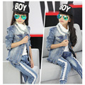 2 pcs Lace Collar Cowboy Coat for Girl 2016 Fashion Princess Denim Coat Baby Girl Children Clothing Trendy Cowboy Outerwear
