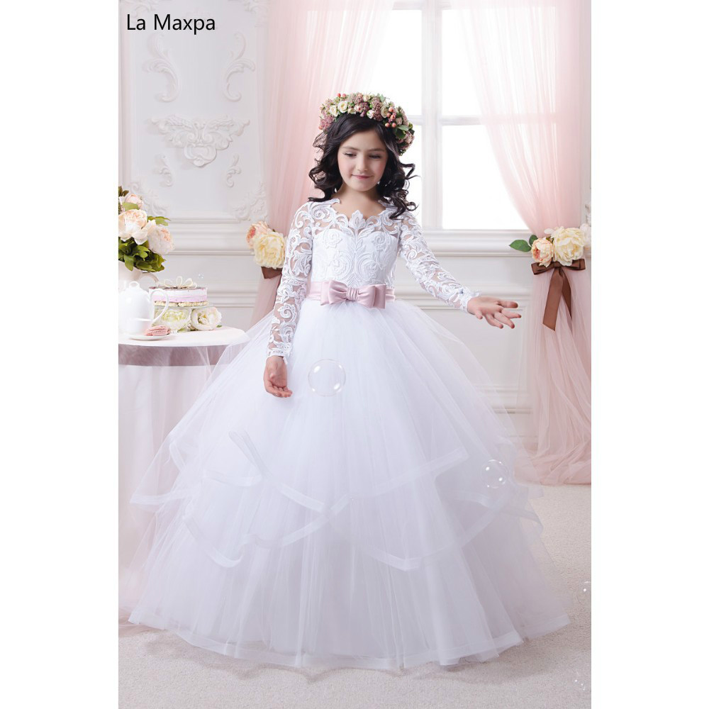 New Popular Bow White Lace Hollow Out Long Dress Children Wedding Dress Girls Birthday Party Piano Performance Handmade Dresses