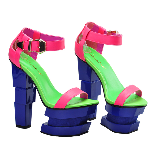 Pink Palms 2017 women summer shoes strange high heel ankle strap shoes women wedge sweetly blush sexy party sandals