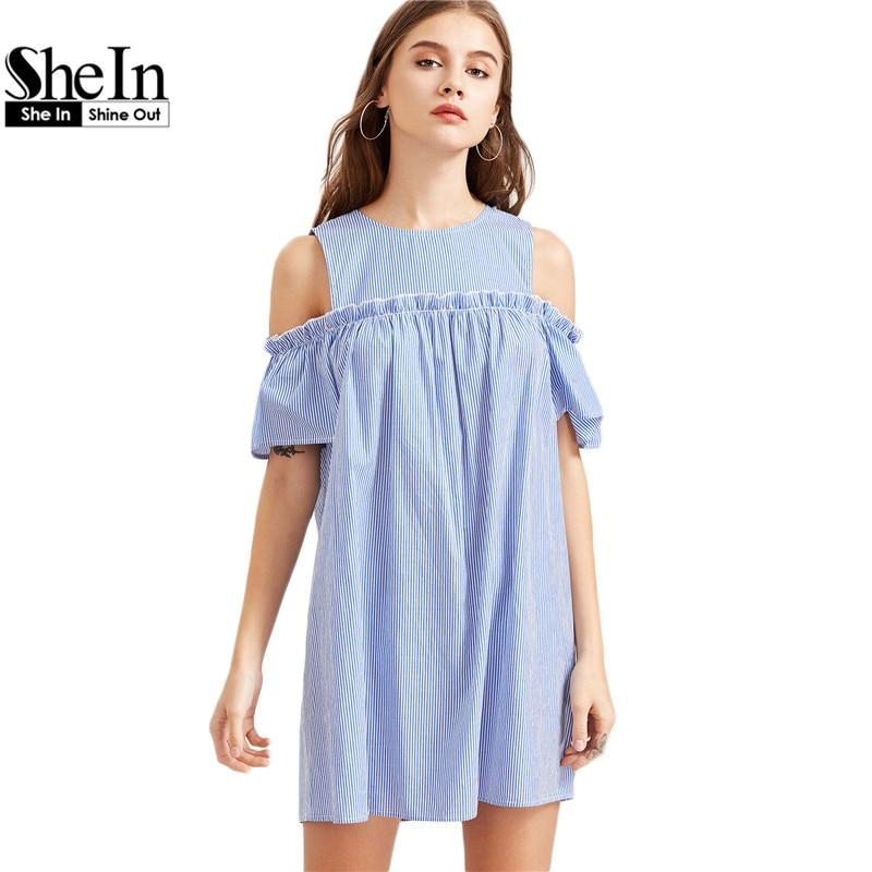 SheIn Blue Striped Cold Shoulder Ruffle Trim Dress Womens Dresses New Arrival 2017 Summer Short Sleeve