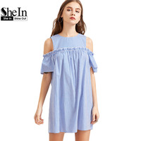 SheIn Blue Striped Cold Shoulder Ruffle Trim Dress Womens Dresses New Arrival 2017 Summer Short Sleeve