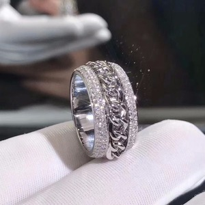 Image 4 - Bague en zircone CZ, blanche claire et rotative pour mariage, superbe, bijou de luxe nouveauté en argent Sterling 925, pour femmes, superbe