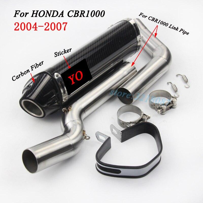 Без шнуровки для HONDA CBR1000 Motorycle выхлопной трубы углерода Волокно Yoshimura изменение скутер среднего звена трубы Стикеры 2004 2007