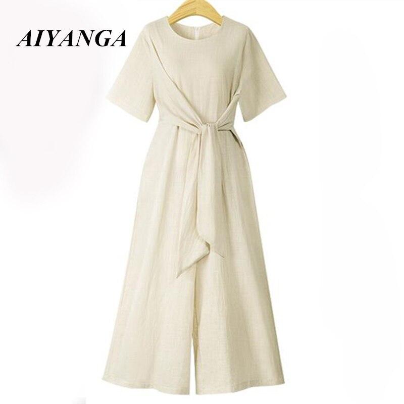 2018 Fashion Hot Summer O-neck Lacing Solid Cotton Linen Casual Sexy combinaison women j ...