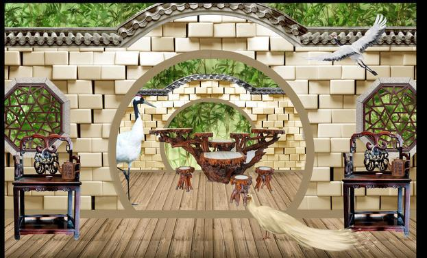 3d wallpaper 3d mural portal chinese garden murals for tv for Chinese mural wallpaper