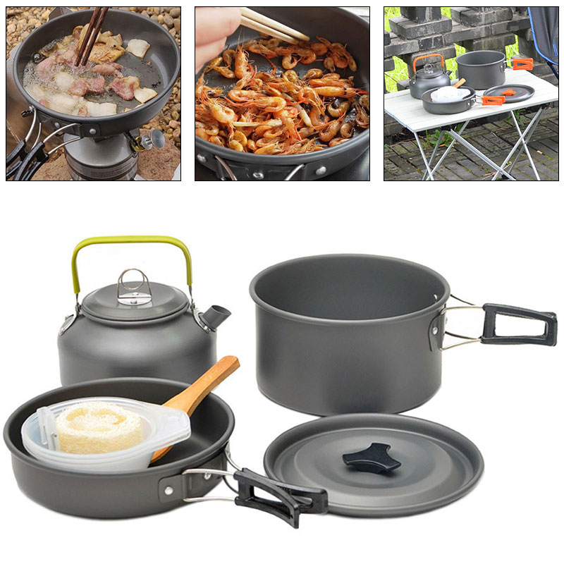 Outdoor Pan Set 2 3 People Are Suitable Picnic Cookware Camping Pot Cleaning Brush Bowl Kettle