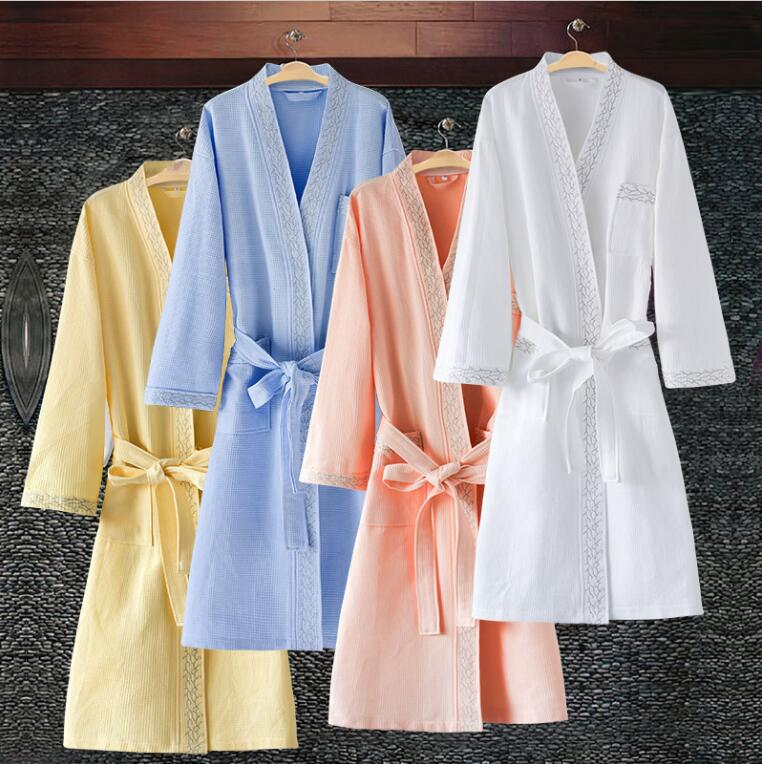 100% Cotton Robe de soiree Kimono men Bathrobe men Peignoir home Hotels Summer