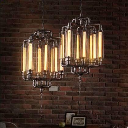 Retro Water Pipe Pendant Lights Fixtures Loft Style Vintage Industrial Lamp Hanging lights Lamparas Colgantes Edison