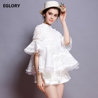 Sweet Cute Princess Women's Blouse 2018 Summer Ladies Hollow Out Lace Embroidery Flare Sleeve Ruffles Loose Shirt Vintage Tops