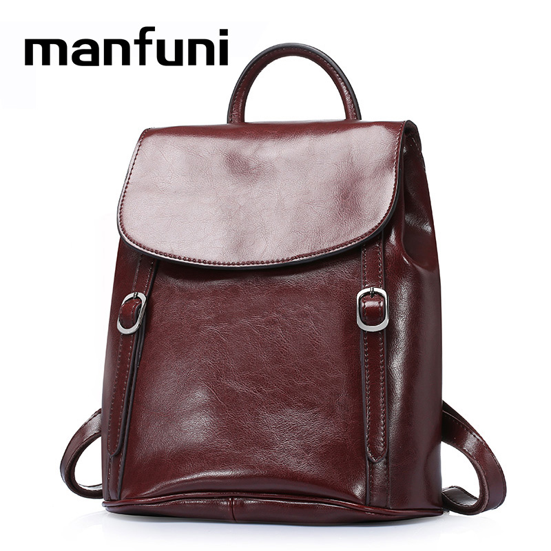 MANFUNI Genuine Leather Backpacks Women Travel Backpack Female Bags Brown Black BackBag