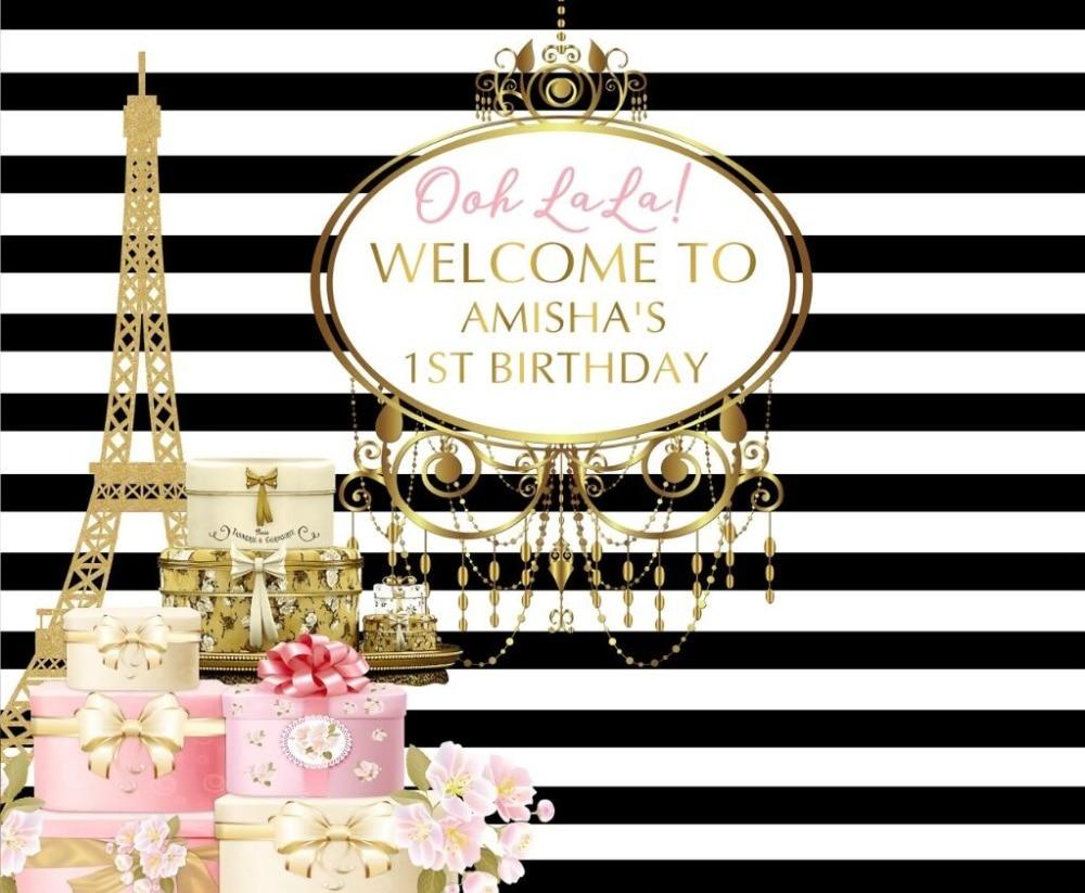 Black /& White Stripy Deco 16th Personalised Birthday Party Invitations