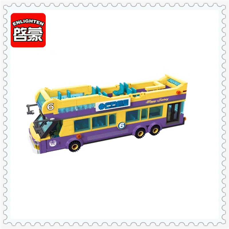 ENLIGHTEN 1123 Sightseeing Bus Tourist Guide Model Building Block 461Pcs Educational  Toys For Children Compatible Legoe 1 43 ankai bus sightseeing tour of london bigbus big bus diecast model bus open top