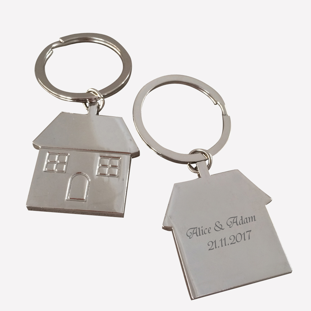 Strict 100pcs Personalized Party Gift Souvenir,house Design Baby Shower Keychain Favor,custom Engagement Gift For Guests engrave Logo Pure White And Translucent Party Favors Home & Garden
