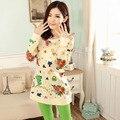 El Otoño invierno de las mujeres Conjuntos de pijamas de algodón Del O-cuello de Manga Larga pijamas traje de Estilo de Moda de ropa interior Pijamas