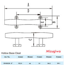 "Mizugiwa 6"" Hollow Open Base Boat Cleats Dock Deck Rope Cleat Marine Bollard Yacht 316 Stainless Steel Heavy Duty"