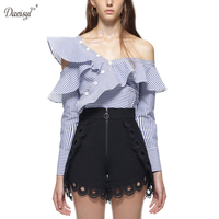 2017 Women Sexy Sloping Shoulders Irregular Cotton Shirt Long Sleeve Blue Striped Shirts Casual Loose Party