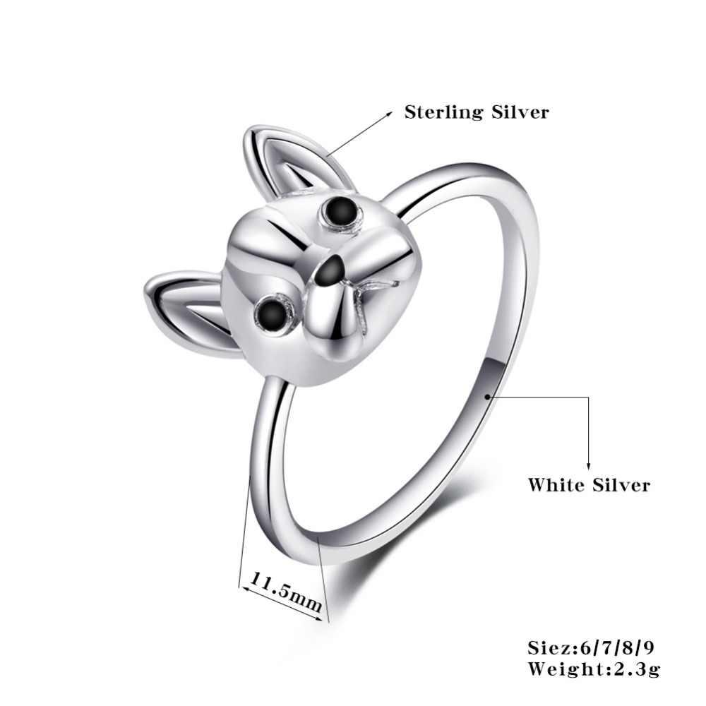 ERLUER Thời Trang Nhẫn đối với Phụ Nữ Bạc Charm Wedding Ring Mickey Mèo hình dạng Con Chó Đồ Trang Sức Cô Gái Engagement Tình Bạn Valentine Quà Tặng