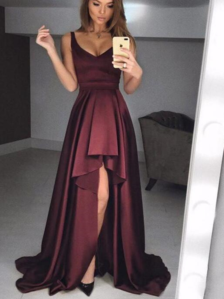 Sexy Sleeveless   Prom     Dresses   Long Short Front Long Back Vestidos Satin Party Gowns Evening Gowns Robe De Soiree