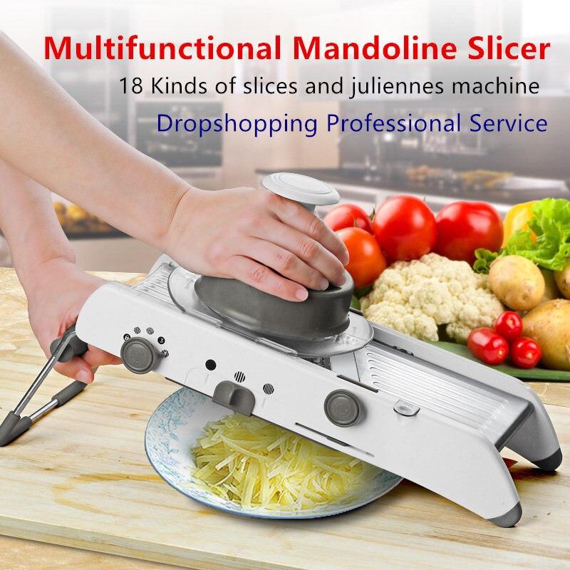 18 Types Use Mandoline Vegetable Slicer Cutter Stainless Steel Multifunctional Fruit Onion Potato Cutter Chopper Kitchen
