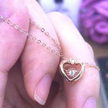 SA SILVERAGE 18K Rose Gold Heart Pendant Necklaces for Woman Diamond Pendant Chain Link Necklaces Real Gold Jewelry 3