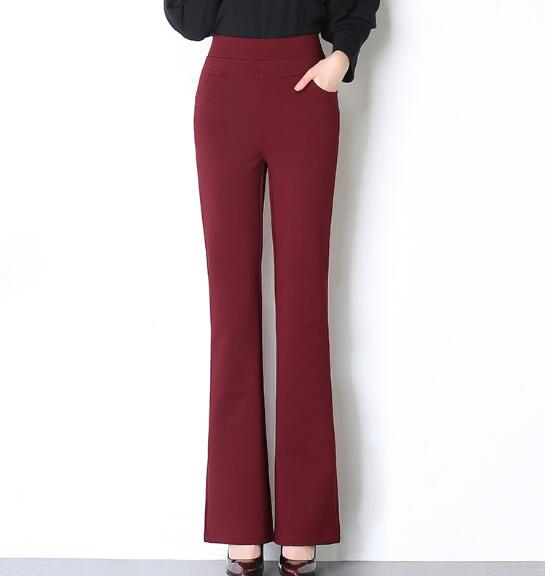 Longitud Flare Moda Oscuro Completa Hembra Cintura Pantalones borgoña Nueva Ealstic Mujeres Alta De Las azul Rojo Azul Negro Slim Negro Qfz0801 Pw4p4d5q