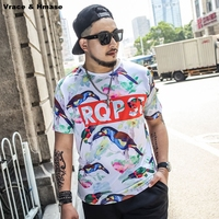 European Style 3D Birds Printing Large Size Loose Short Sleeve T Shirt Summer 2017 New Soft