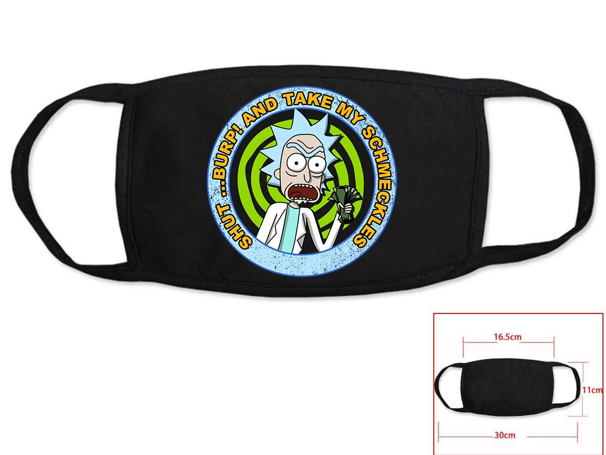Hot Comic Rick and Morti Cosplay Black Face Collection Gift Hip Hop Fashion Mask Unisex With Rick and Morti Logo