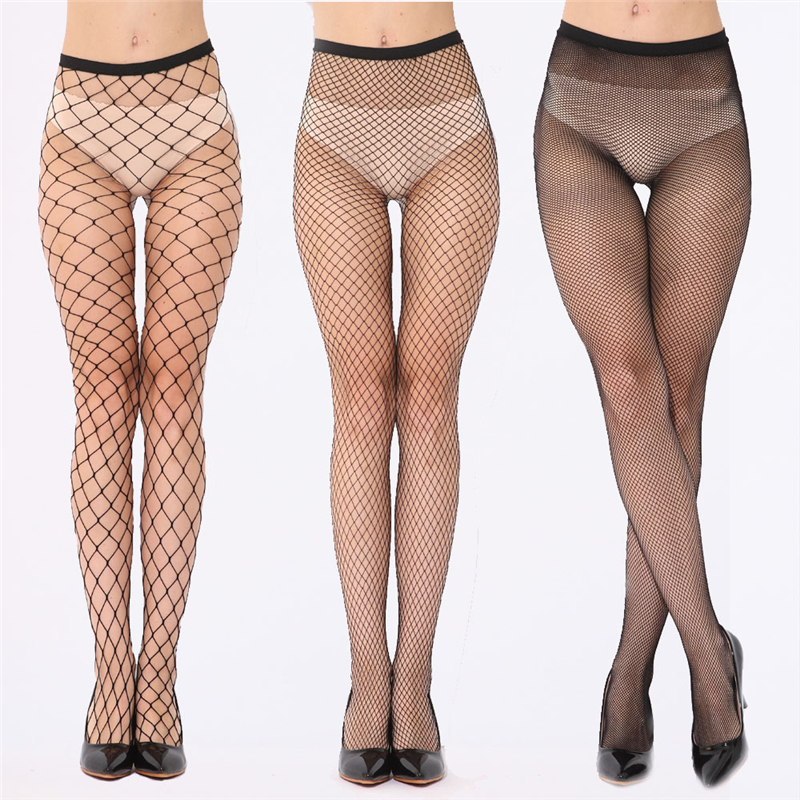 Elastic Black Mesh Tights Women  Sexy Fish Net Pantyhose Female Long Thigh High Stockings Over The Knee Socks Medias