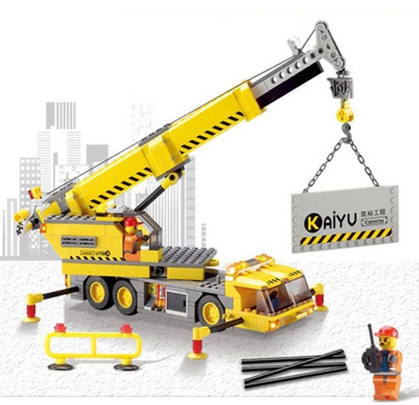 2015 Kids Construction Toys City Crane Plastic Model Kits Eductional Building Blocks Compatible With Lego DIY Toys 380pcs/set lepin 02012 city deepwater exploration vessel 60095 building blocks policeman toys children compatible with lego gift kid sets