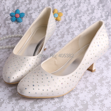 Wedopus Super Quality Plus Size Wedding Shoes Crystal Low Heel Ivory Satin for Women Dropship