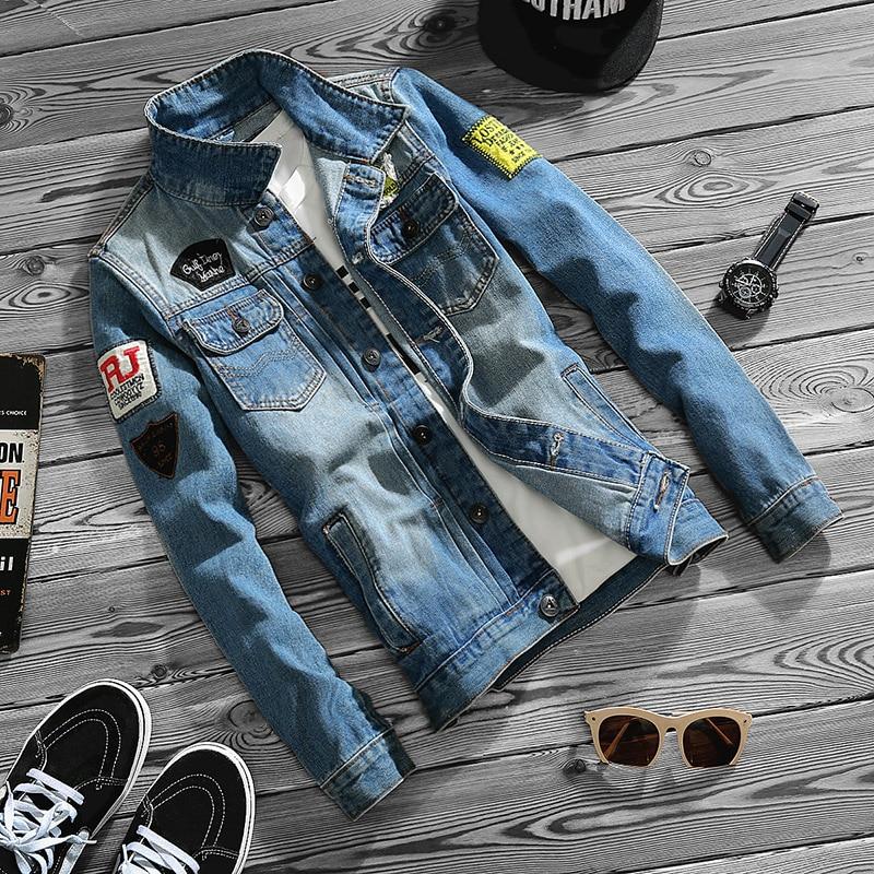 Men's 2017 autumn new fashion pocket square neck embroidered letters all-match jacket korean Slim casual denim jacket M-5XL