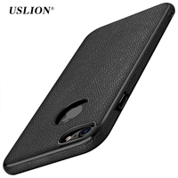 USLION Luxury Litchi Pattern PU Leather Phone Case For iPhone 7 Plus Cases Soft TPU Back Cover Capa Coque For iPhone7 Plus