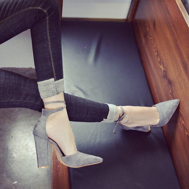 2018 spring new women shoes basic style retro fashion high heels 3