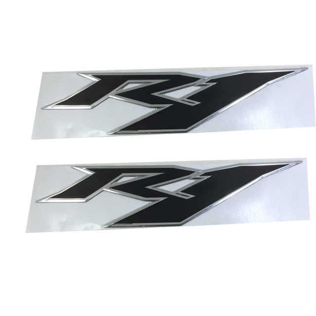 Black silver edge MOTORCYCLE EMBLEM BADGE DECAL 3D TANK WHEEL LOGO FOR YAMAHA YZF1000 R1 STICKER