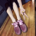Low-Heeled Shoes Female Vintage 2017 Spring Velvet Round Toe Lace Up Oxford Flats Women Flat Heel Casual Student Shoes ALSL