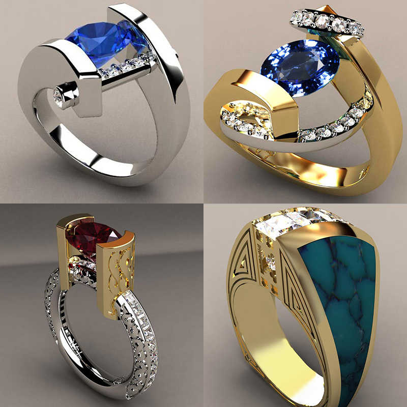 Vintage Male Female Crystal Blue Red Stone Ring Luxury Silver Gold Wedding Ring Promise Engagement Rings For Men And Women