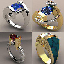 Vintage Male Female Crystal Blue Red Stone Ring Luxury Silver Gold Wedding Ring Promise Engagement Rings For Men And Women(China)
