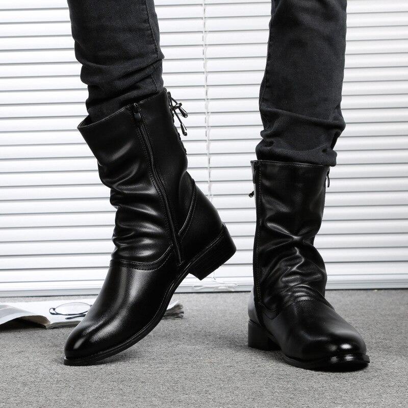 Nueva Punky Motocicleta Black Casual Militares Zapatos Hombres Plush 2018 black Inglaterra Genuino Estilo Cuero Martin Winter Masculino Springautumn De Botas dxq4dfBwt