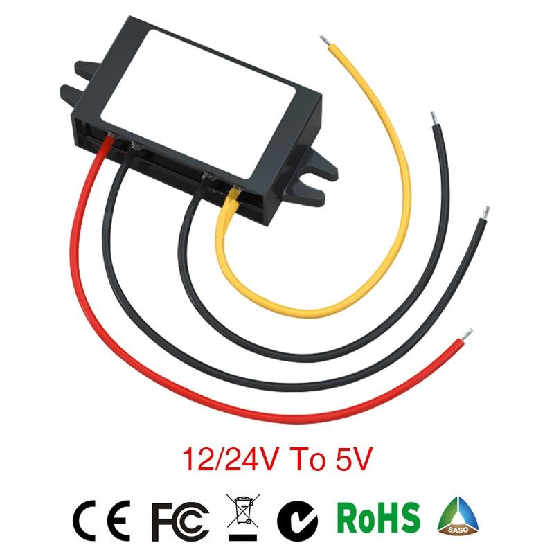 power inverter converter DC/DC Step-down 12/24V to 5V 2A3A4A Waterproof inverter converter Car Module Auto car power inverter